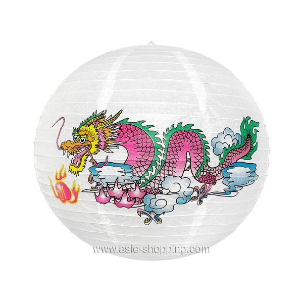 boule japonaise chinoise blanche lampion papier dragon color. Black Bedroom Furniture Sets. Home Design Ideas