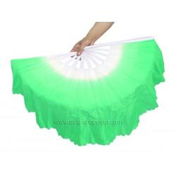 Eventail de danse blanc et vert x2