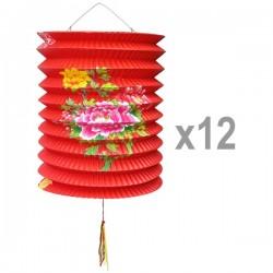 Lot lampion chinois fleurs en papier x12