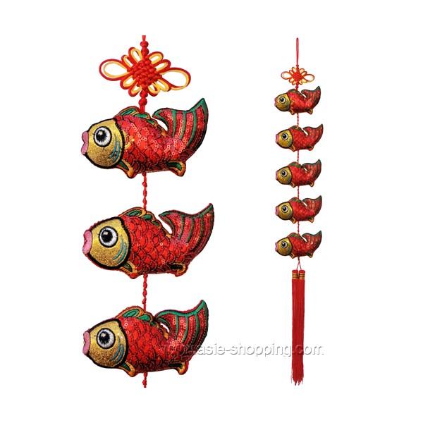 Guirlande de 5 poissons rouges en tissu brodé on
