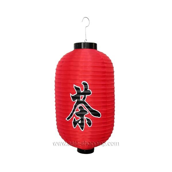 Lampion japonais en tissu rouge décor CHA (Thé)