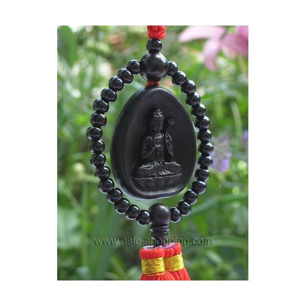 porte bonheur bouddha et mala en bois de santal noir