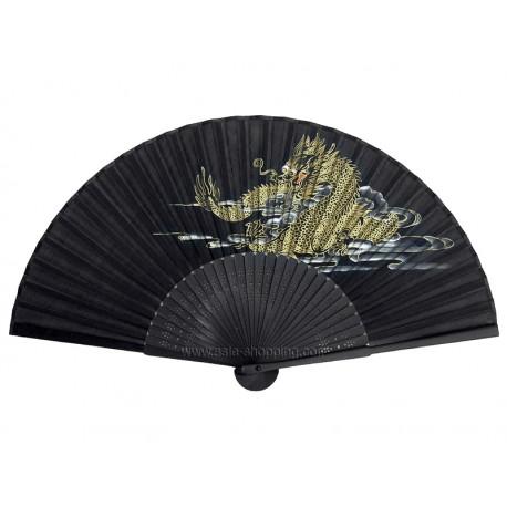 Éventail chinois noir dragon