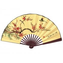 Eventail chinois 60cm branche fleurie et oiseaux