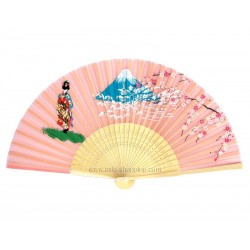Eventail japonais rose geisha et Mt Fuji