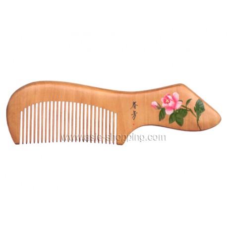 Peigne chinois en bois décoré