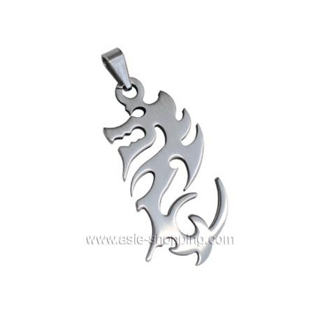 Pendentif dragon en acier