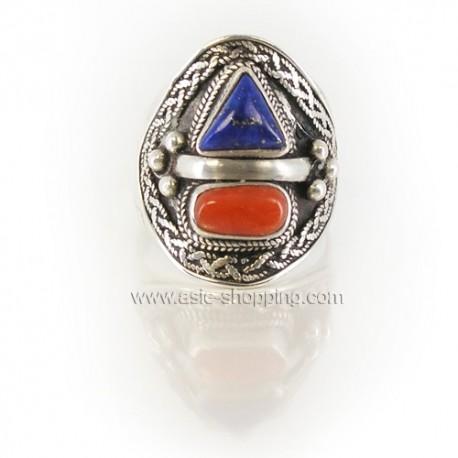 Bague Népal en argent et lapis-lazuli et corail rouge