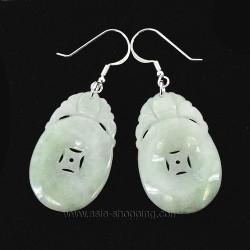 Boucles d'oreille de jade pièce