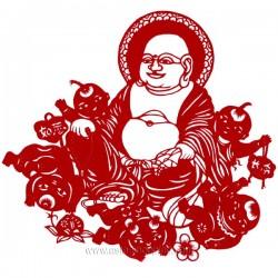 Papier découpé Bouddha rieur