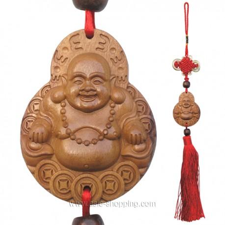 Porte bonheur d coration chinoise bouddha rieur en bois - Porte bonheur chinois chat ...