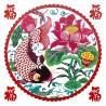 Sticker décoration chinoise Bonheur et fleurs