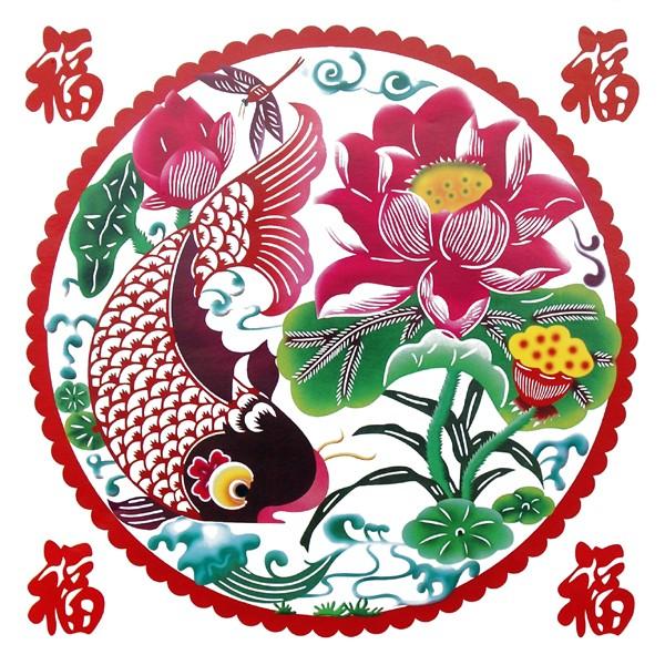 Sticker décoration chinoise poisson et lotus on