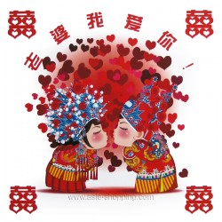 Sticker décoration chinoise couple