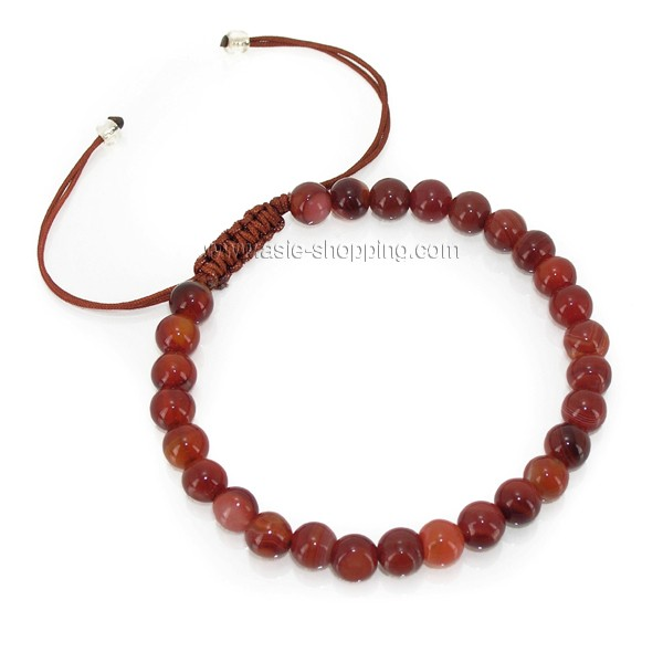 bracelet en perles de pierre naturelle cornaline et cordelette. Black Bedroom Furniture Sets. Home Design Ideas
