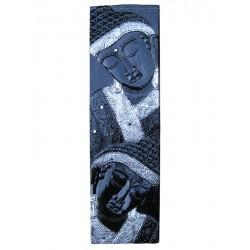 Panneau en bois laqué visages de Bouddha