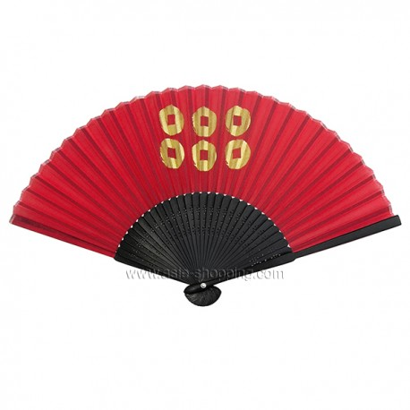 Éventail chinois noir et rouge