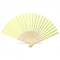 Éventail en papier jaune pâle
