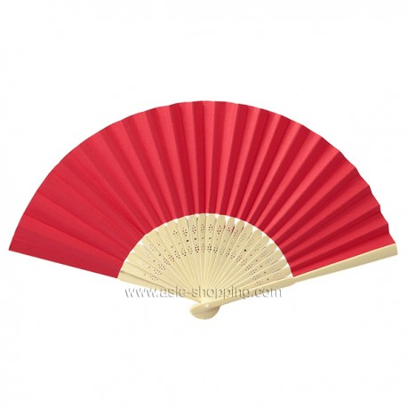 Éventail en papier rouge