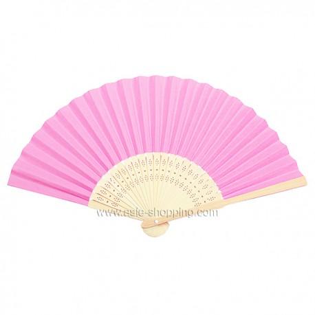 Éventail en papier rose