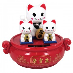 3 chats porte bonheur Maneki Neko solaire
