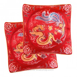 Paire de coussins chinois Dragon et Phénix (2 housses)