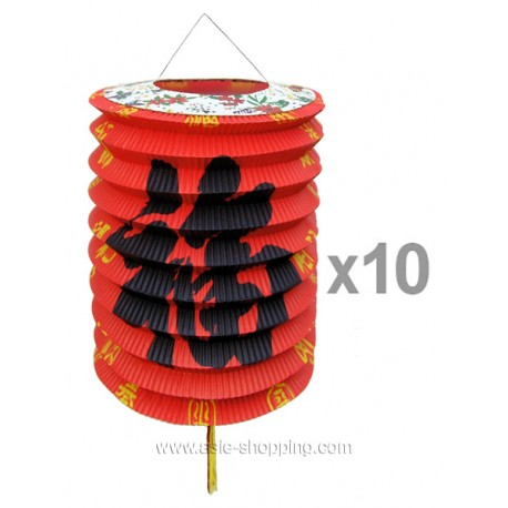 Lot lampion chinois en papier x12