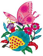 papier découpé chinois papillon