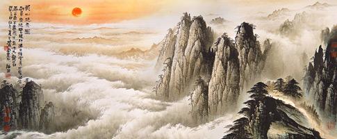 peinture chinoise de montagnes chinoises