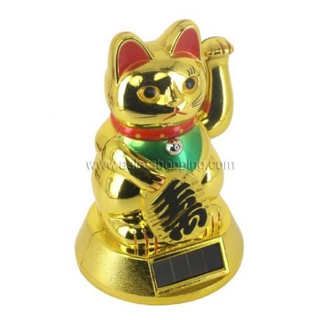 Chat porte-bonheur Maneki Neko solaire 12cm