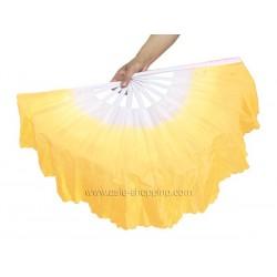 Eventail de danse blanc et jaune x2