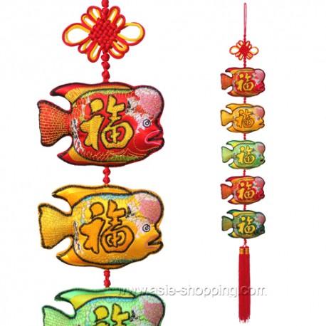 Décoration chinoise 5 poissons et bonheur