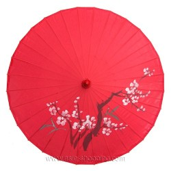 Ombrelle chinoise rouge branche fleurie
