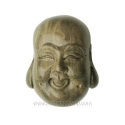 Netsuke tête de Bouddha rieur en santal
