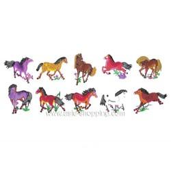 10 papiers découpés chevaux