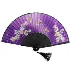 Eventail chinois papillons et fleurs