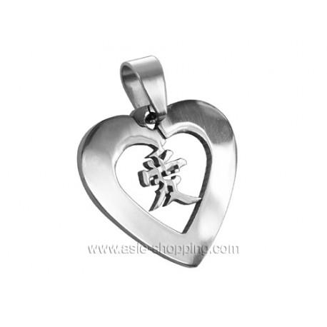 Pendentif coeur en acier Amour en chinois