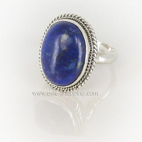 Bague Népal en argent et lapis-lazuli