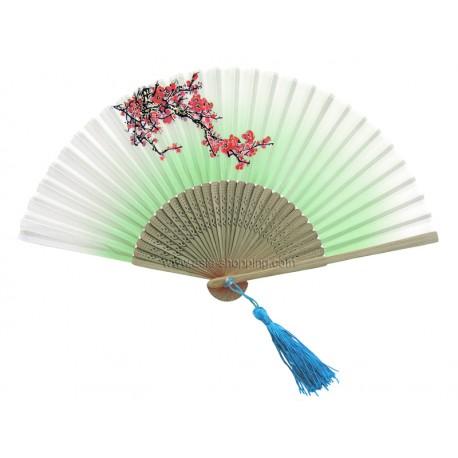 Éventail chinois branche fleurie