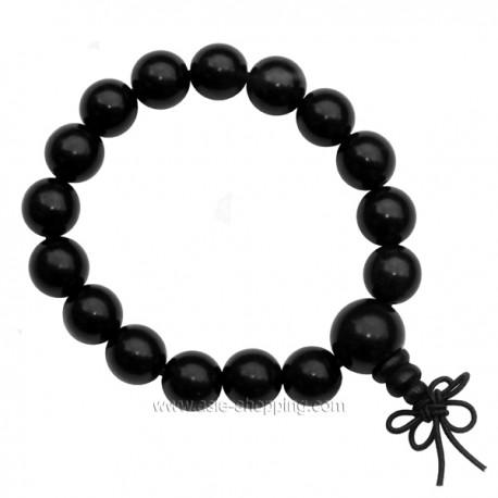 Bracelet bouddhiste en bois noir
