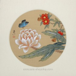 Peinture chinoise papillon et fleurs