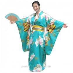 Kimono japonais turquoise