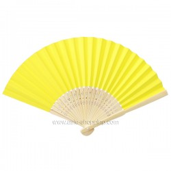 Éventail en papier jaune